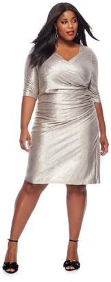 Debut Gold V-Neck Plus Size Knee Length Dress