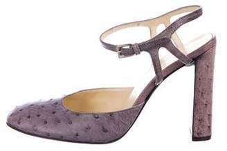 Prada Ostrich Ankle Strap Pumps