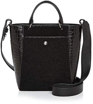 Elizabeth and James Eloise Small Shearling & Embossed Leather Tote