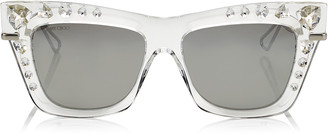 52e5aab88224 Jimmy Choo BEE Silver Mirror Cat Eye Sunglasses with Silver and Clear  Swarovski Crystals