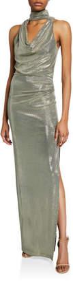 Halston Metallic Draped-Neck Sleeveless Column Gown