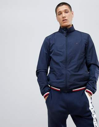 Tommy Hilfiger Sports Capsule Funnel Jacket Icon Stripe Trim in Navy