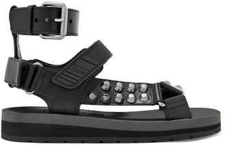 Prada Studded Leather Sandals - Black