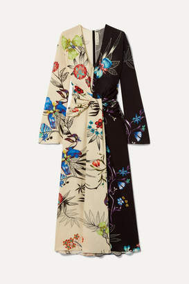Etro Twist-front Floral-print Crepe De Chine Maxi Dress - Cream
