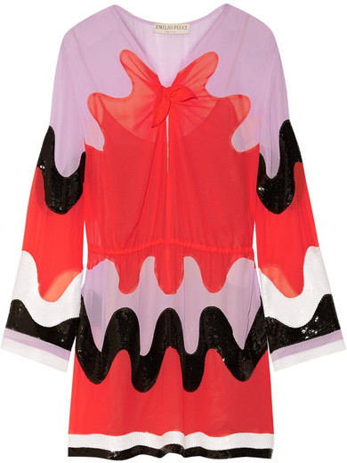 Emilio Pucci Emilio Pucci - Color-block Sequin-embellished Silk-georgette Mini Dress - Red