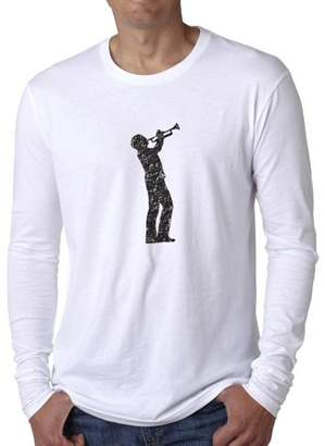 Hollywood Thread Trendy Trumpeter Silhouette Playing Trumpet Loud Men's Long Sleeve T-Shirt