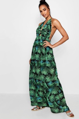 boohoo Tall Plunge Front Palm Print Maxi Dress