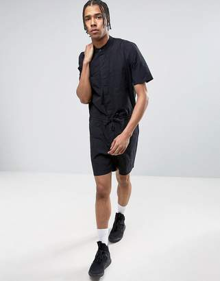 ASOS Slim Short Jumpsuit With Grandad Collar In Black $64 thestylecure.com