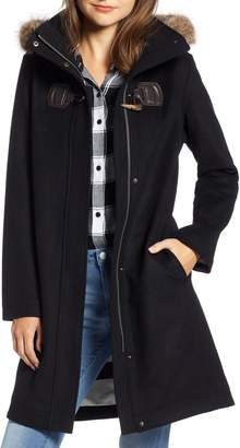 Pendleton St Marie Wool Hooded Coat with Genuine Raccoon Fur Trim