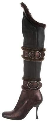 Gianmarco Lorenzi Leather Shearling Boots
