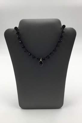 Private Label Sapphire Sky Black-Linen Jet-Bead Drop