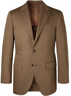 Brown Slim-Fit Cotton And Linen-Blend Twill Suit Jacket