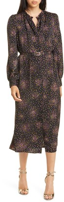 Kate Spade Disco Dots Long Sleeve Midi Dress