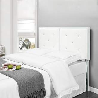Pilaster Designs Addisyn White Faux Leather Crystal Tufted Full Size Upholstered Headboard (Metal Frame)