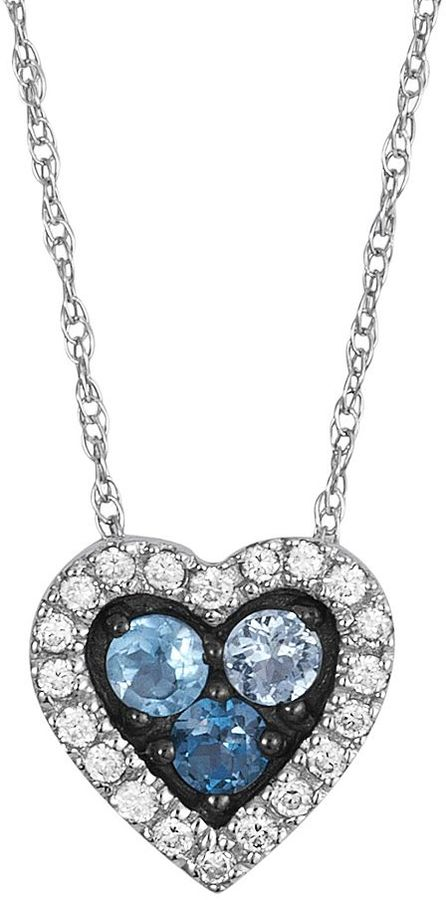 14k White Gold Blue Topaz & 1/10-Ct. T.w. Diamond Heart Necklace