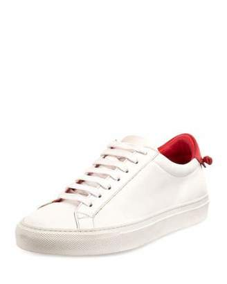Givenchy Urban Street Leather Low-Top Sneaker, White/Red $495 thestylecure.com