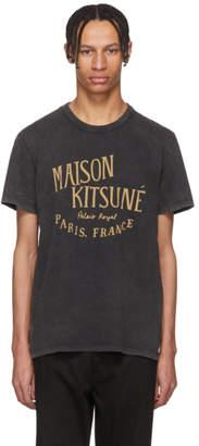 MAISON KITSUNÉ Black and Beige Palais Royale T-Shirt