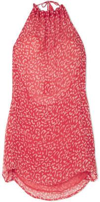 Cloe Cassandro - Leopard-print Halterneck Silk-chiffon Mini Dress - Bright pink