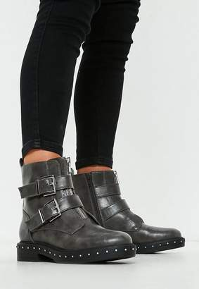 Missguided Grey Double Buckle Studded Sole Biker Boots
