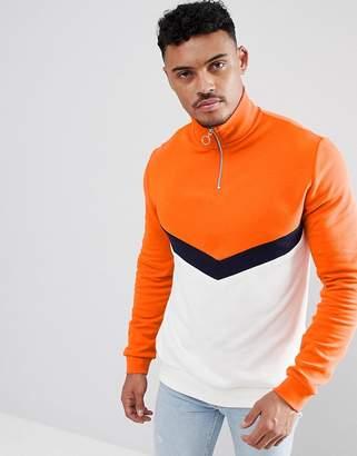 Asos DESIGN Sweatshirt With Half Zip And Color Blocking