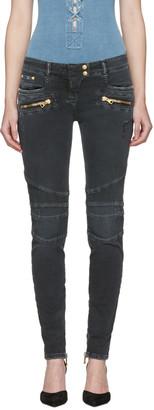 Balmain Black Distressed Biker Jeans $1,325 thestylecure.com