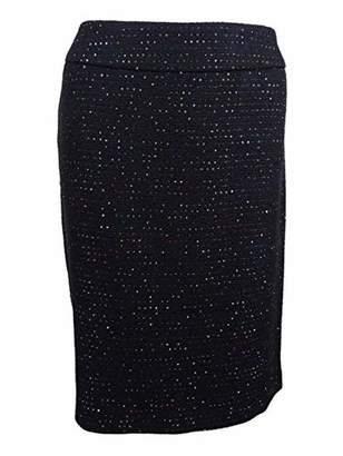 Nine West Women's Plus Size Sequin Tweed Slim Skirt
