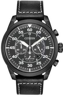Citizen Eco-Drive Black Stainless Steel Leather Strap Watch