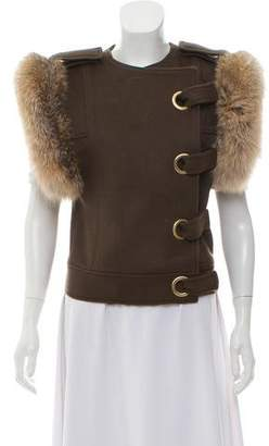 Thomas Wylde Wool Fur-Trimmed Vest