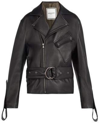 Wooyoungmi Belted Leather Jacket - Mens - Black