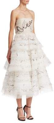 Oscar de la Renta Strapless Silk Ruffle Cocktail Dress