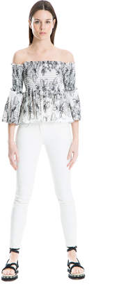 Max Studio floral embroidered smocked top