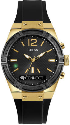 GUESS Women's Analog-Digital Connect Black Silicone Strap Smart Watch 41mm C0002M3 $199 thestylecure.com
