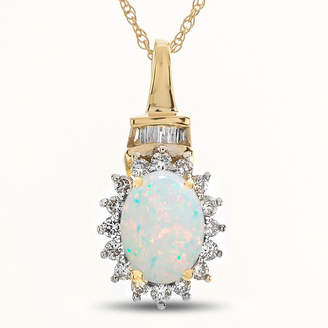 FINE JEWELRY Womens Lab Created Multi Color Opal 10K Gold Pendant Necklace