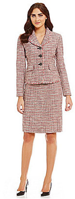 Albert Nipon Tweed Flounce Collar Fringe Detail Skirt Suit $375 thestylecure.com