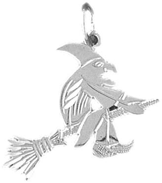 b-ROOM JewelsObsession 14K Gold Witch On Broom Pendant - 23 mm