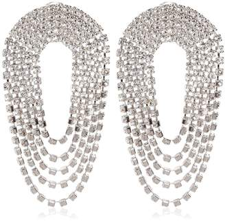Crystal Draped Circle Clip-On Earrings