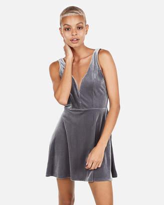 Express Petite Velvet Deep V-Wire Skort Dress