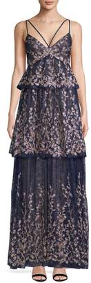 BCBGMAXAZRIA Printed Tiered Gown