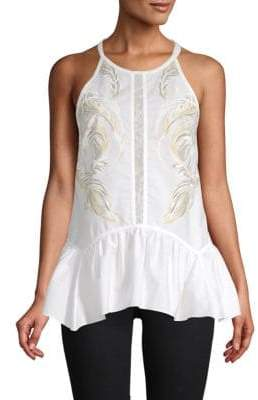 Roberto Cavalli Ruffled Hem Sleeveless Top