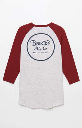 Brixton Wheeler Grey & Red 3/4 Sleeve T-Shirt