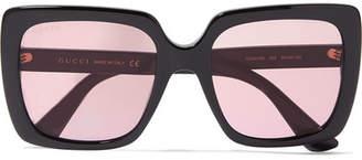 Gucci Oversized Crystal-embellished Square-frame Acetate Sunglasses - Pink