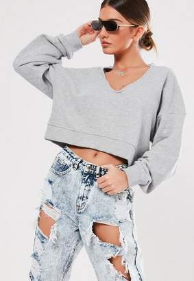 Missguided Gray Crop Notch Neck Oversized Sweater