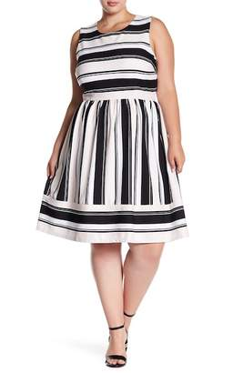 Sandra Darren Striped Sleeveless Dress (Plus Size)