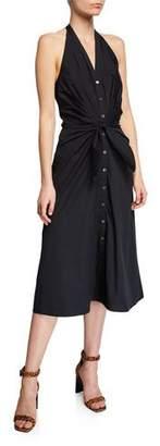 Veronica Beard Disa Ruched Button-Front Halter Dress