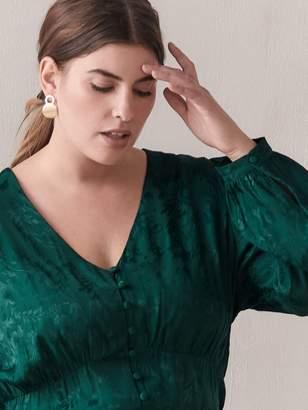 Green jacquard Balloon-Sleeve Blouse - Addition Elle