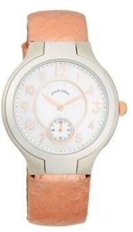 Philip Stein Teslar Stainless Steel, Mother-Of-Pearl & Embossed Leather-Strap Watch