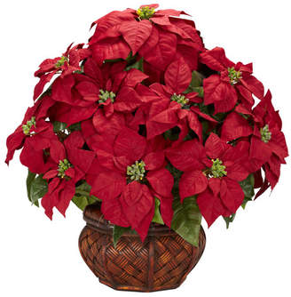 Three Posts Poinsettia with Decorative Planter Silk Arrangement