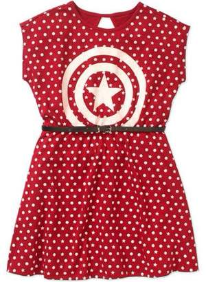 Marvel Captain America Girls' Shield Logo and Polka Dots Short Puff Sleeve Graphic Dress With Pleather Belt