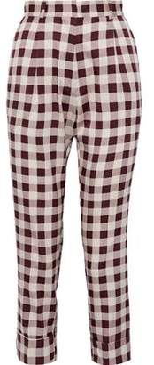 Baum und Pferdgarten Narethe Cropped Gingham Silk-blend Tapered Pants