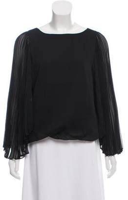 Carmen Marc Valvo Pleated Long Sleeve Blouse